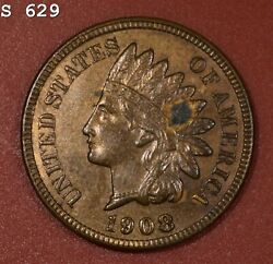 1908 Indian Head Cent Vch Bu Rb Free S/h After 1st Item