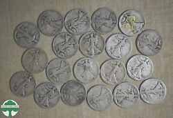 10 Face Walking Liberty Halves- All Legible Dates 1917-1940's- Many Early Dates