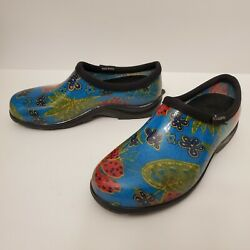 Sloggers Blue Floral Waterproof Rubber Garden Shoes Clogs Size 6 Euc Made In Usa