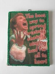 Elf the Movie Singing Loud for All to hear Glitter Christmas Wood Ornament