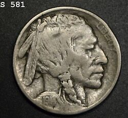 1914-3 Buffalo Nickel Fine+ Free S/h After 1st Item