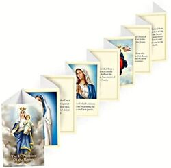 Promises Of The Holy Rosary Folded Accordion Prayer Booklet, Pack Of 3, 3.25 In