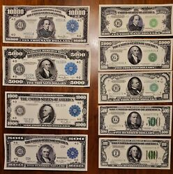 Reproduction Of 1934 And 1918  500, 1000, 5k, 10k Usd/ 8 Total Notes
