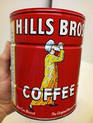Vintage Hills Bros Brothers Coffee Can 2 Pounds 2lb Tin No Lid Red Can Brand