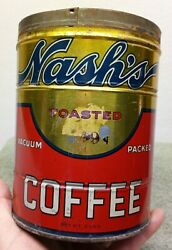 Vintage Nash`s Toasted Coffee Can 2 Pounds 2lb Tin No Lid Vacuum Packed