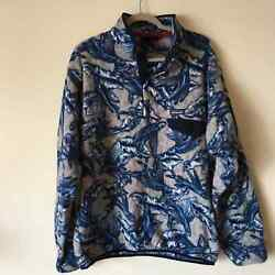 Fleece Pullover Synchilla Snap-t Fish Pattern Jacket Menand039s Xl