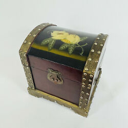 Vintage Hand Crafted Solid Wood Treasure Chest Jewelry Box Magnolia Painted Rare