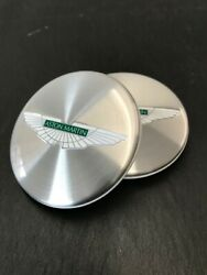Aston Martin Set Of 4 Turned Silver With Green Emblem Wheel Centre Hy53-1a096-ba