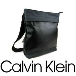 Calvin Klein Shoulder Bag Men New Messenger Leather Black Fashion iPad Bag $89.00