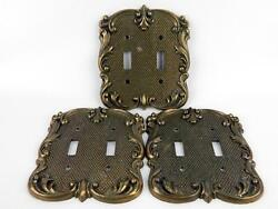 3 Vintage National Lock Double Light Switch Plates Swirl Scroll Antiqued Brass