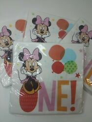 4-pack, Minnie Mouse 1st Birthday Party Napkins 16 Ct 2-ply Disney Baby