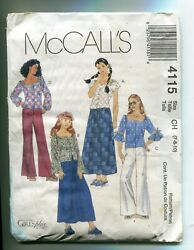Mccalland039s Pattern 4115 Girls/plus Top Skirt Pants Cover Wear Sizes 7 To 10 Uncut