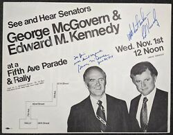 Unusual 1974 George Mcgovern And Edward Ted Kennedy Senators Signed Rally Flyer