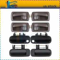 For 92-96 Toyota Camry 8pcs Inner And Outer Front Rear Door Handles Black And Brown
