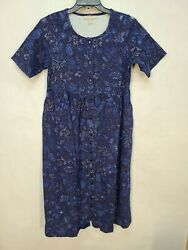 Woman Within Blue Paisley Floral Button Front Empire Waist Dress Size Large