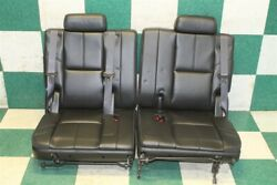 07-14 Tahoe Black Leather Third 3rd Row Lh Rh Removable Seats W/headrest Oe Pair