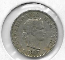 Switzerland 1907 5 Rappen Coin - Extra Fine Condition - Free Shipping