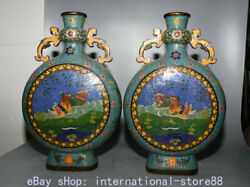 14.8 Marked Old China Copper Cloisonne Palace Mandarin Duck Ellipse Bottle Pair