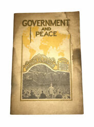 Government And Peace 1939 Judge Rutherford Madison Square Garden Book 1st Print