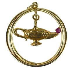 Genie Lamp Kinetic Large Yellow Gold Red Ruby Charm Pendant