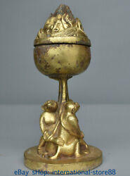 8.8 Old Chinese Bronze Gilt Dynasty Palace 3 Monkey Incense Burners Censer