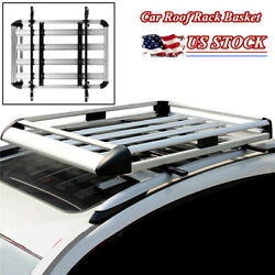 55'' Car Suv Top Roof Rack Luggage Cargo Bicycle Carrier Basket Aluminum Alloy