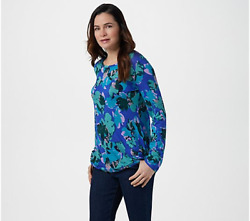 Logo By Lori Goldstein Printed Knit Top With Long Sleeves-malibu Teal-1x-a342774