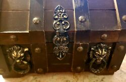 Vintage Wooden Lined Treasure Chest With Lion Hardware