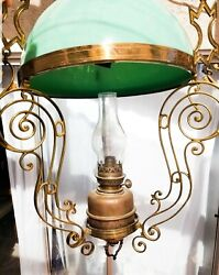 Antique Vintage Victorian Seafoam Green Glass Lamp With Oil Lamp, Also Wired E-