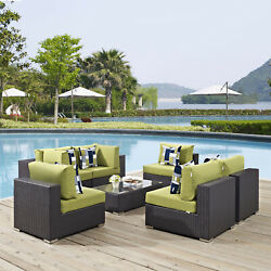 7pc Wicker Rattan Cushioned Outdoor Patio Sectional Set In Espresso Peridot