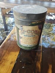 Rare Vintage Old Bi-cona Coffee Chicory Tin Can New York Man Cave Advertising