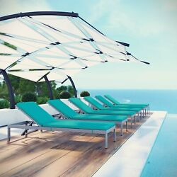 Outdoor Patio Aluminum Cushioned 6pc Chaise Lounge Chair Set In Silver Turquoise