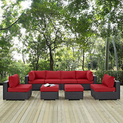8pc Wicker Rattan Cushioned Outdoor Patio Sectional Set In Espresso Red