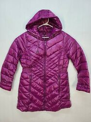 New Jessica London Quilted Long Puffer Car Coat Packable Violet Size 22