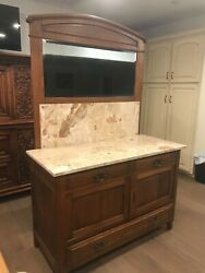 Antique Oak Buffet From Belgium. Marble Top With Large Mirror And Keys