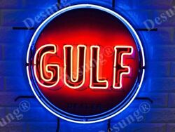 New Gulf Gasoline Gas Station Dealer Neon Sign 24x24 With Hd Vivid Printing