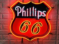 New Phillips 66 Gasoline Motor Oil Gas Lamp Neon Sign 24 With Hd Vivid Printing