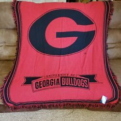 University Of Georgia Bulldogs Cotton Fringed Afghan Throw Blanket Tapestry New