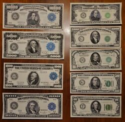 Series 1934 And 1918 - 500, 1000, 5k, 10k Usd/ 8 Total Notes Reproductions/fake