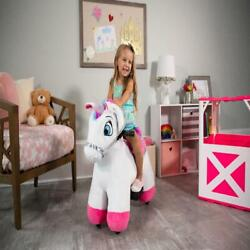 Plush Ride-on Kids Toy 6 Volt Unicorn With Light Up Horn And Play Stable New