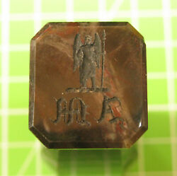 Stunning Large Antique Agate Desk Seal For The Mitchell Family Archangel Crest