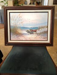 Vintage Original H. Gailey Oil Painting Seascape Signed And Framed