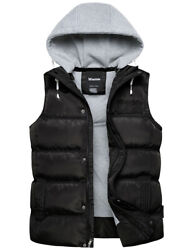 Wantdo Menand039s Thick Winter Vest Water Resistant Puffer Vest With Removable Hood