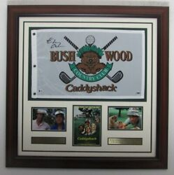 Chevy Chase Caddyshack Signed Pin Flag And Photo Collage Framed Beckett 148200