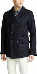 Billy Reid Menand039s Wool Double Breasted Bond Peacoat With Leather Details
