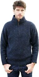Aran Crafts Men's Irish Cable Knitted Half Zip Sweater 100 Donegal Wool