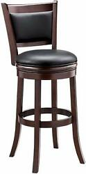 Ball Cast Jayden Wooden Swivel Bar Stool With Faux-leather Upholstery - 29 Inc