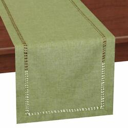 Grelucgo Handcrafted Solid Color Dining Table Runner Dresser Scarf Double-hems