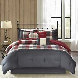 Madison Park Ridge Queen Size Bed Comforter Set Bed In A Bag - Red Plaid Andndash 7 Pi
