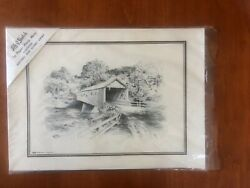Set Of 16 1960s Lith O Sketch Jas F Murray Old Wood Covered Bridge Place Mats
